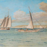 In this busy scene, a skipjack passes a point of land as two other oyster dredgers—a Bay schooner and sloop—sail in the opposite direction toward open Bay waters. As a young artist, Baltimore-born Louis Feuchter was inspired by the Chesapeake Bay during trips to Maryland's Eastern Shore. Later in his career, as commercial sailing craft were disappearing, Feuchter increasingly turned to them for subject matter. He generally sketched the boats along the Baltimore waterfront and then painted them as he imagined the vessels under sail on the Bay.