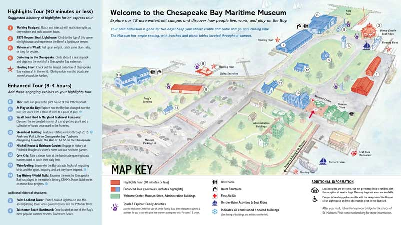 The campus map of the Chesapeake Bay Maritime Museum in St. Michaels, Maryland.