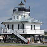 The 1879 Hooper Strait Lighthouse at the Chesapeake Bay Maritime Museum in St. Michaels, Maryland.