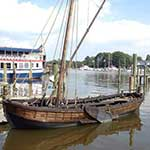 The replica John Smith Shallop is part of the floating fleet at the Chesapeake Bay Maritime Museum in St. Michaels, Maryland.