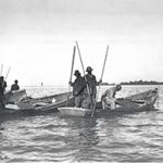 Watermen oystering in a Yankee Skiff, on York River in Virginia, c. 1920. Photographer unknown. Robert H. Burgess Collection of the Chesapeake Bay Maritime Museum, St. Michaels, MD. Gift of Dr. A. L. Van Name.