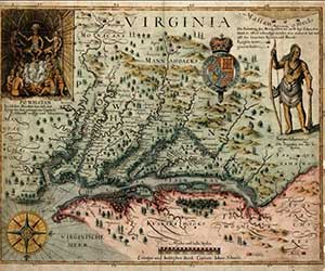 John Smith's map of Virginia was first published in 1612, but served as a model for many later maps. This map was derived from Smith's map. The original was published in Amsterdam in the 1640s. From Willard Rouse.