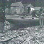 Levi Rayfield's log canoe under construction, 1939. Photographer unknown. Collection of the Chesapeake Bay Maritime Museum, St. Michaels, MD.