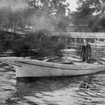 Five-Log Tilghman Canoe at Tunis Mills, Maryland, after it was converted to power, c. 1920. Photographer unknown. Collection of the Chesapeake Bay Maritime Museum, St. Michaels, MD. Gift of Mike Mielke.