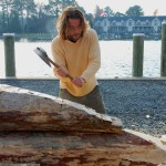 CBMM Shipwright Apprentice James DelAguila uses a broad ax to shape one of the logs for a new three-log sailing canoe at the Chesapeake Bay Maritime Museum. The building technique is unique and indigenous to the Chesapeake Bay, dating back to the 1800s. Shaped with ax and adz, the logs are drifted together and with the addition of one or two planks, form the hull up to the deck. CBMM is launching the canoe on April 22, with details found at www.cbmm.org.