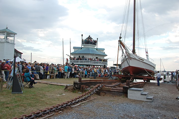 The re-launch of the skipjack Rosie Parks at the 2013 OysterFest after a three-year restoration with 3,500 guests in attendance, the largest single-day crowd in Museum history.