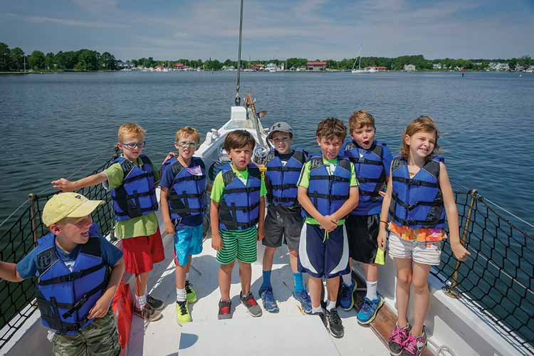 Kids Club aboard the Winnie Estelle at the Chesapeake Bay Maritime Museum in St. Michaels Maryland. Photo by Bill Wilhelm