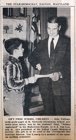 John Valliant presents a check to GA. Van Lennep Jr, vice president of the Talbot County Historical Society for the Chesapeake Bay Maritime Museum. Star Democrat, 1964.