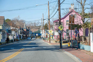 Looking north on North Talbot Street, retail district of Saint Michaels, MD