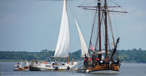 Schooner Sultana and the Skipjack HM Krentz at the Chesapeake Bay Maritime Museum in St. Michaels, MD.