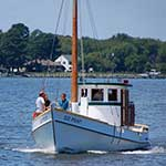 Old Point is part of the floating fleet at the Chesapeake Bay Maritime Museum in St. Michaels, Maryland.